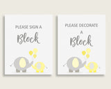 Sign A Block Baby Shower Decorate A Block Yellow.Elephant Baby Shower Sign A Block Baby Shower Yellow.Elephant Decorate A Block Yellow W6ZPZ