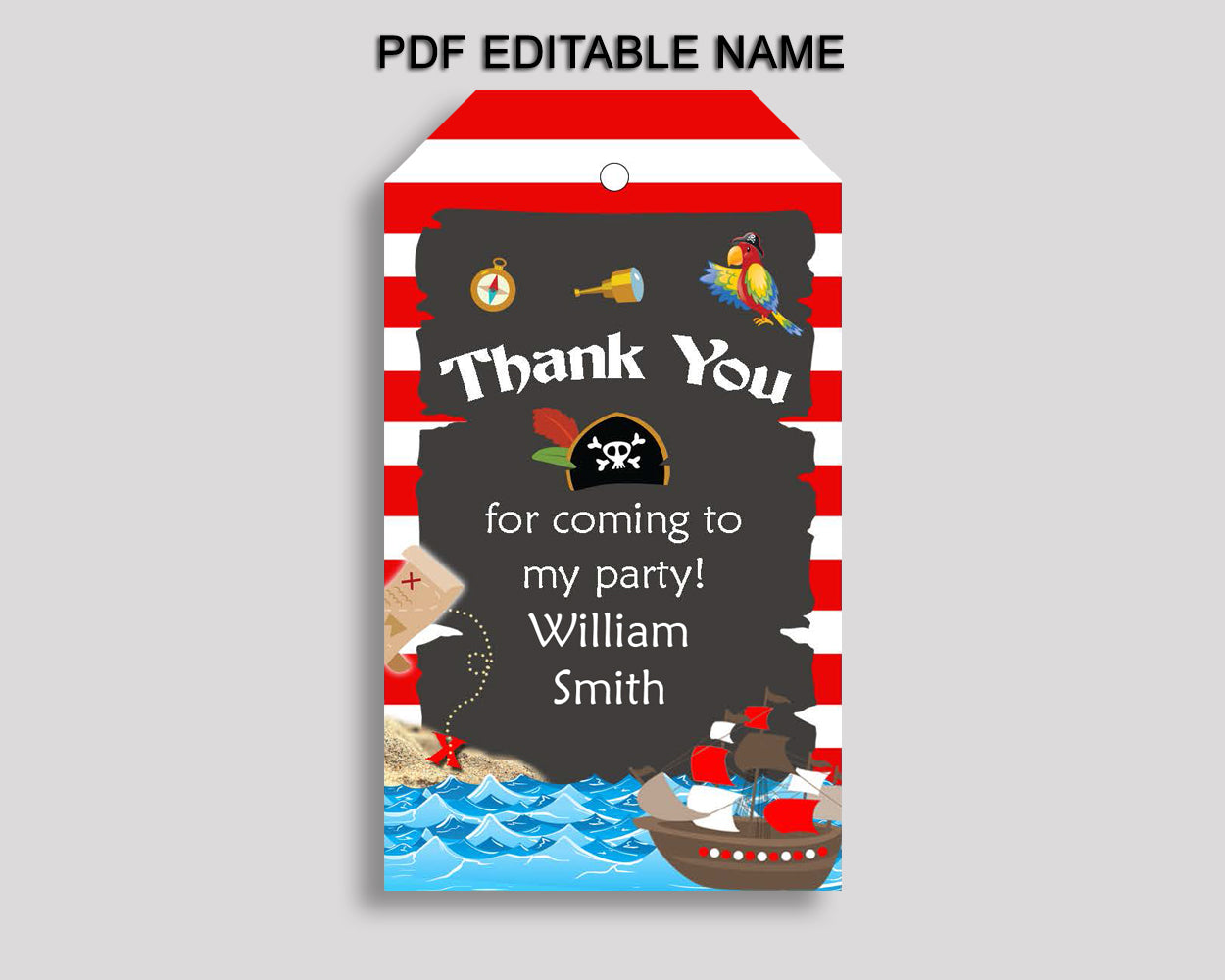 Pirate Favor Tags Red Black Party Tags Pirate Birthday Tags Pirate Thank You Tags Boy INGIO