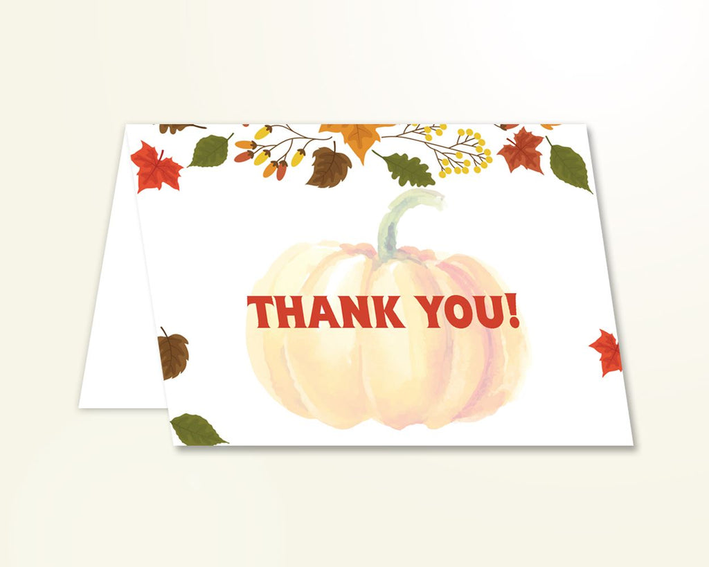 Thank You Card Baby Shower Thank You Card Autumn Baby Shower Thank You Card Baby Shower Pumpkin Thank You Card Orange Brown pdf jpg OALDE - Digital Product
