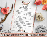 Antlers Flowers Bohemian Bridal Shower Movie Love Quote Game in Gray and Pink, matching love quotes, party decorations, party plan - MVR4R - Digital Product