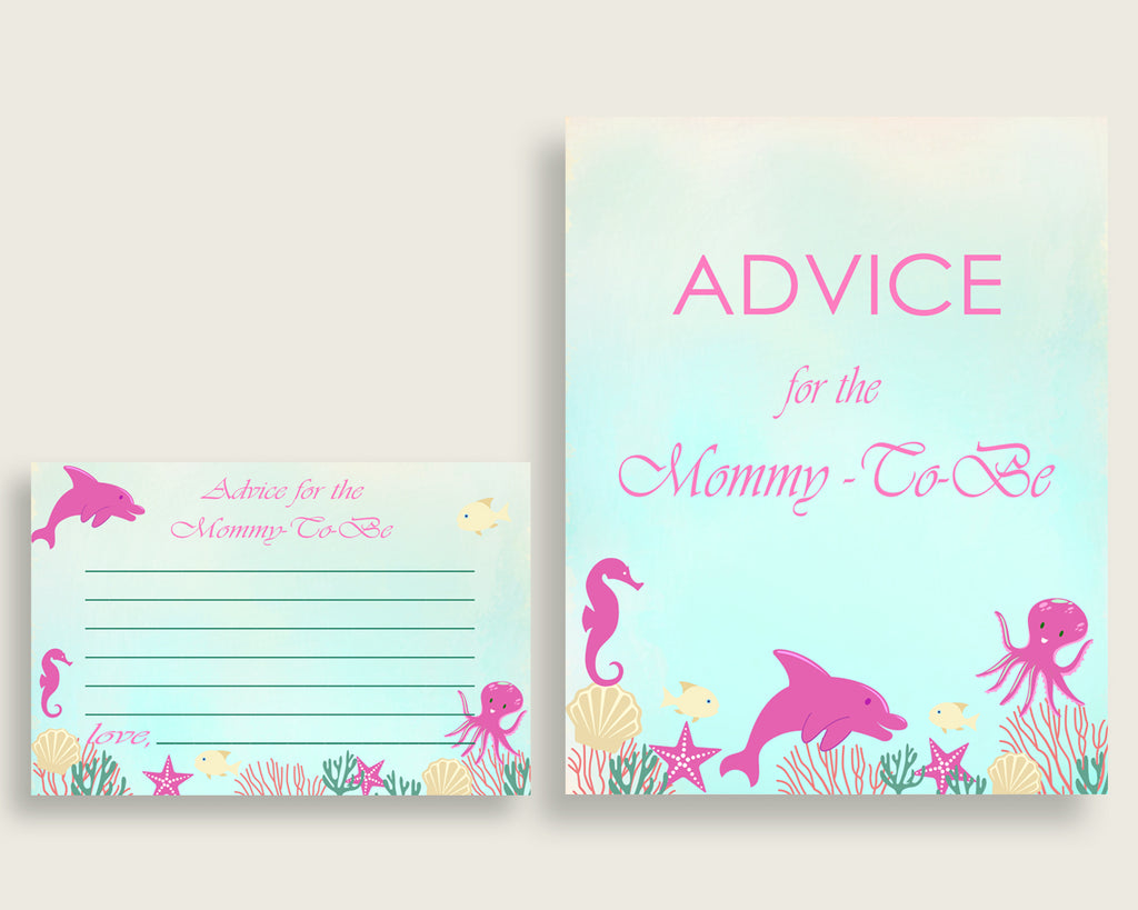 Under The Sea Advice For Mommy To Be Cards & Sign, Printable Baby Shower Pink Green Advice For New Parents, Instant Download, Popular uts01