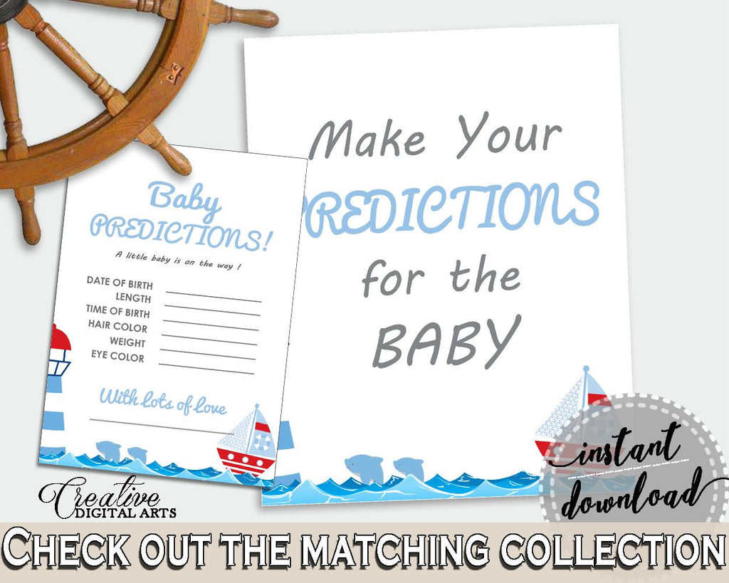 Baby Predictions Baby Shower Baby Predictions Nautical Baby Shower Baby Predictions Baby Shower Nautical Baby Predictions Blue Red DHTQT - Digital Product
