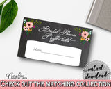 Black And Pink Chalkboard Flowers Bridal Shower Theme: Raffle Ticket - raffle card, chalk bridal shower, shower activity, party plan - RBZRX - Digital Product