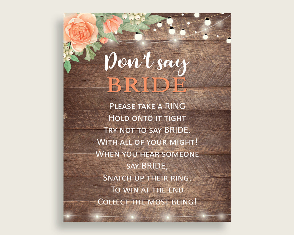 Don't Say Bride Bridal Shower Don't Say Bride Rustic Bridal Shower Don't Say Bride Bridal Shower Flowers Don't Say Bride Brown Beige SC4GE