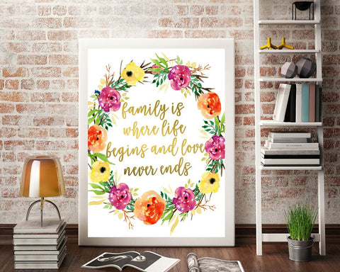 Wall Art Family Digital Print Family Poster Art Family Wall Art Print Family  Wall Decor Family home wall decor gold floral print - Digital Download