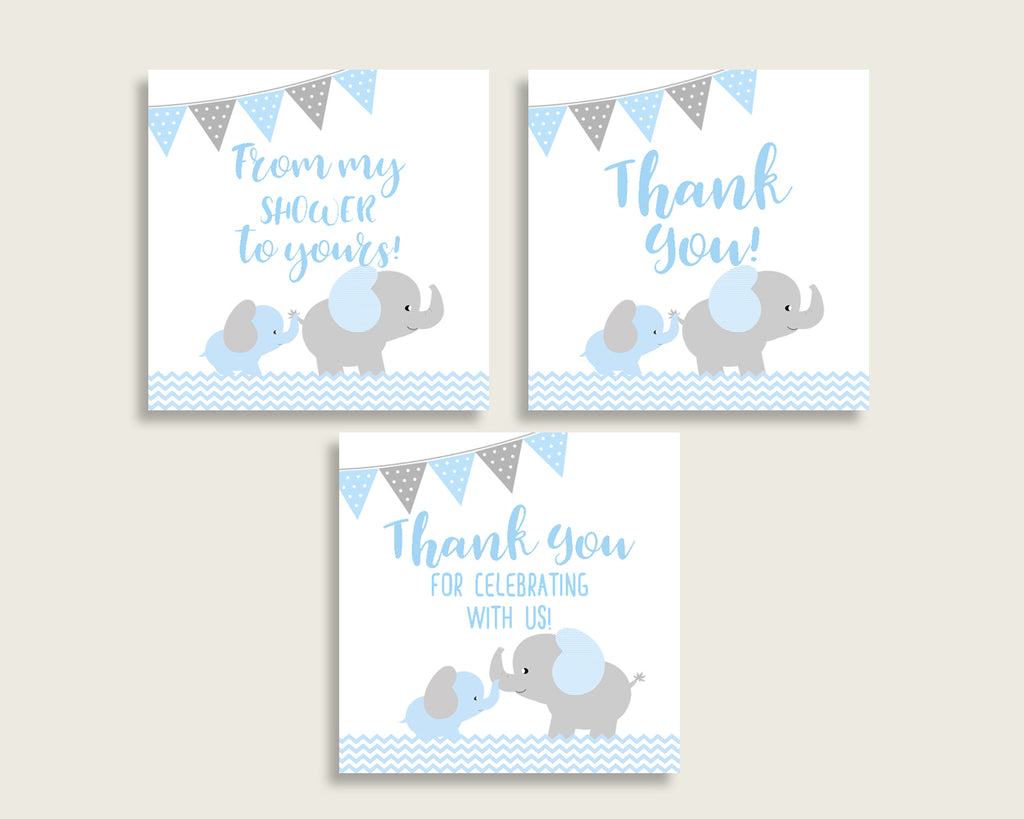 Elephant Baby Shower Square Thank You Tags 2 inch Printable, Blue Grey Boy Shower Gift Tags, Hang Tags Labels, Instant Download ebl02