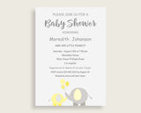 Invitation Baby Shower Invitation Yellow Baby Shower Invitation Baby Shower Elephant Invitation Yellow Gray pdf jpg party décor party W6ZPZ