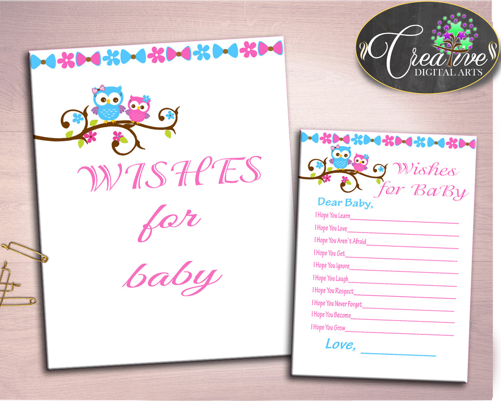 Wishes For Baby Baby Shower Wishes For Baby Owl Baby Shower Wishes For Baby Baby Shower Owl Wishes For Baby Pink Blue party décor owt01