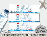 Bottle Labels Baby Shower Bottle Labels Nautical Baby Shower Bottle Labels Baby Shower Nautical Bottle Labels Blue Red party theme DHTQT - Digital Product