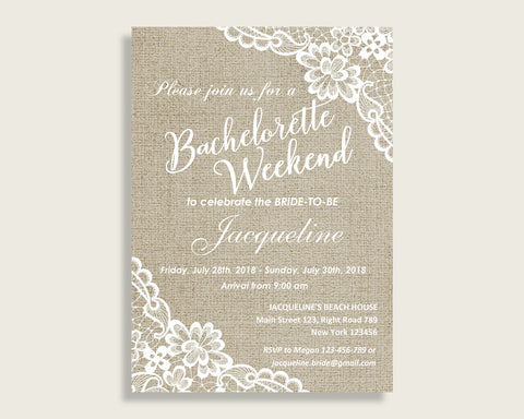 Bachelorette Weekend Invitation Bridal Shower Bachelorette Weekend Invitation Burlap And Lace Bridal Shower Bachelorette Weekend NR0BX