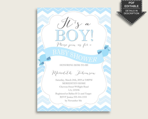 Chevron Baby Shower Invitations Printable, Digital Or Printed Invitation Baby Shower Boy, Editable Invitation Blue White Popular Light cbl01