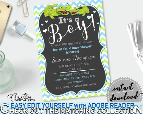 Baby Shower INVITATION editable with green alligator and blue color theme, instant download - ap002