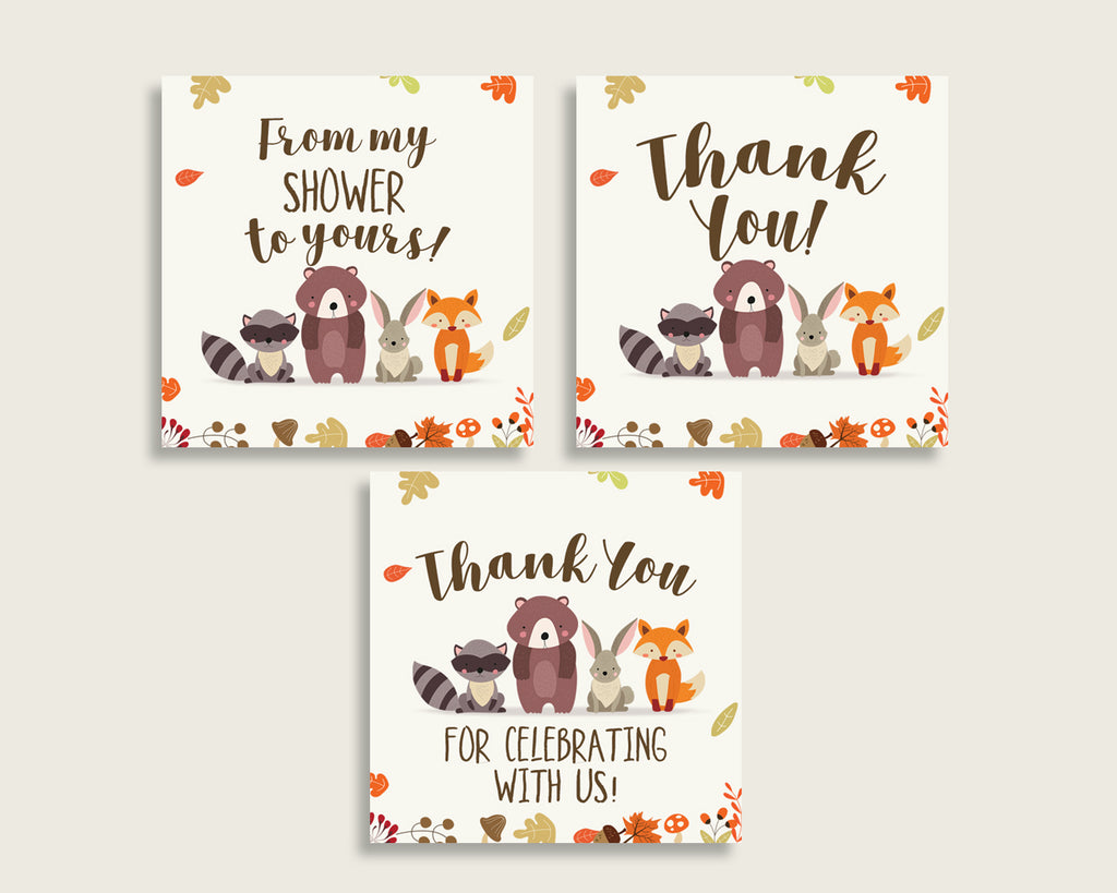 Woodland Baby Shower Square Thank You Tags 2 inch Printable, Brown Beige Gender Neutral Shower Gift Tags, Hang Tags Labels, Instant w0001