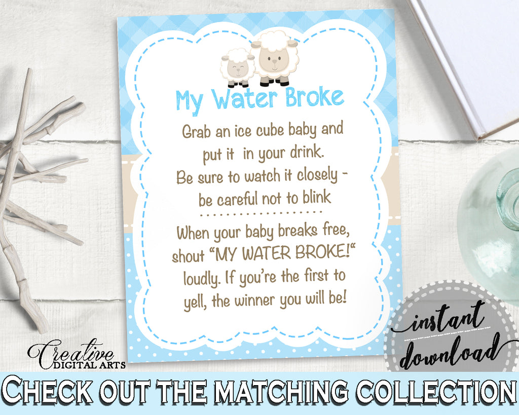 Baby Shower Boy MY WATER BROKE lamb game, sheep shower blue theme printable, Digital Files Jpg Pdf, instant download - fa001