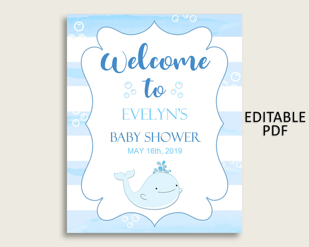Blue White Whale Baby Shower Welcome Sign Printable, Party Large Sign, Editable Welcome Sign Boy, Yard Sign, Instant Download, wbl01