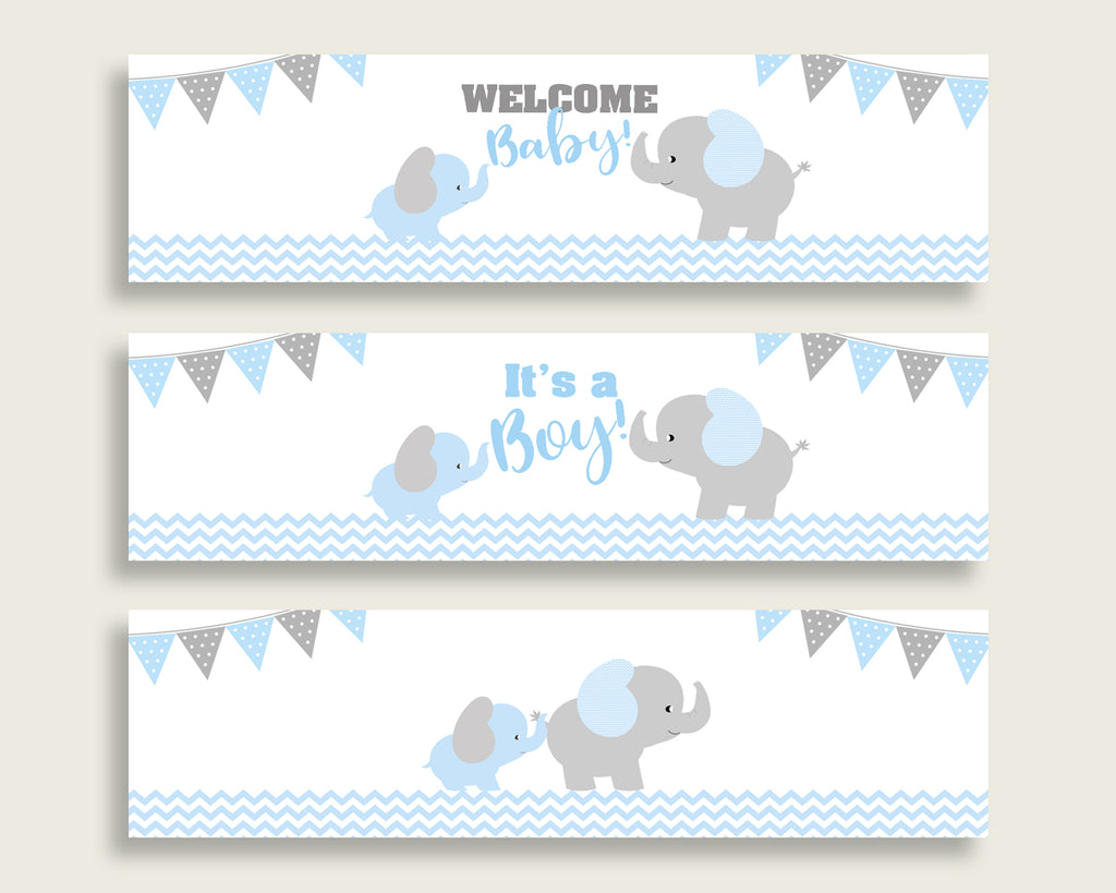 Blue Grey Water Bottle Labels Printable, Elephant Water Bottle Wraps, Elephant Baby Shower Boy Bottle Wrappers, Instant Download, ebl02