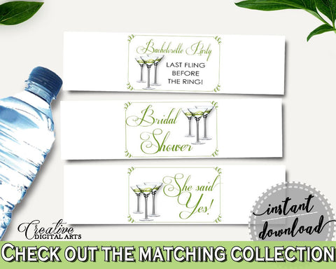 Bottle Labels Bridal Shower Bottle Labels Modern Martini Bridal Shower Bottle Labels Bridal Shower Modern Martini Bottle Labels Green ARTAN - Digital Product