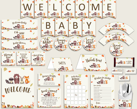Brown Beige Baby Shower Decorations Gender Neutral Kit, Woodland Baby Shower Party Package Printable, Instant Download, Popular w0001