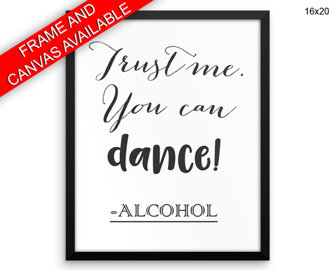 Alcohol Funny Print, Beautiful Wall Art with Frame and Canvas options available Bar Decor