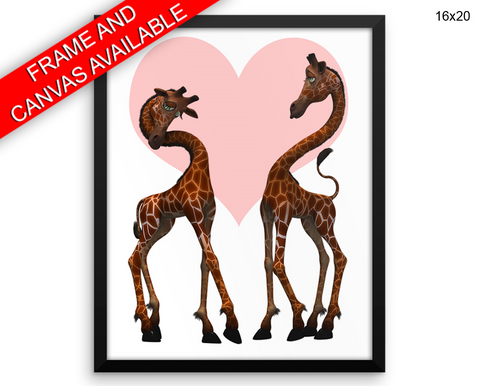 Giraffe Love Print, Beautiful Wall Art with Frame and Canvas options available Nursery Decor