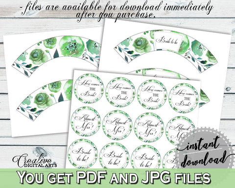 Cupcake Toppers And Wrappers Bridal Shower Cupcake Toppers And Wrappers Botanic Watercolor Bridal Shower Cupcake Toppers And Wrappers 1LIZN - Digital Product