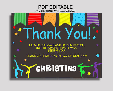 Birthday Gymnastics Thank You Gymnastics Self Editable Rainbow Black Thank You Notes Gymnastics Party Thank You Girl QKROL