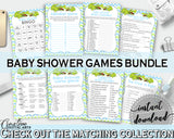 Blue and Green Baby Shower games package bundle printable with Green Alligator Crocodile for boys - Instant Download - ap002