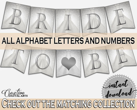 Silver And White Silver Wedding Dress Bridal Shower Theme: Banner - party decoration, fancy bridal shower, shower activity, prints - C0CS5 - Digital Product