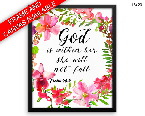 God Is Within Her She Will Not Fall Print, Beautiful Wall Art with Frame and Canvas options