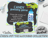 CANDY GUESSING GAME sign and tickets for baby shower with green alligator and blue color theme, instant download - ap002