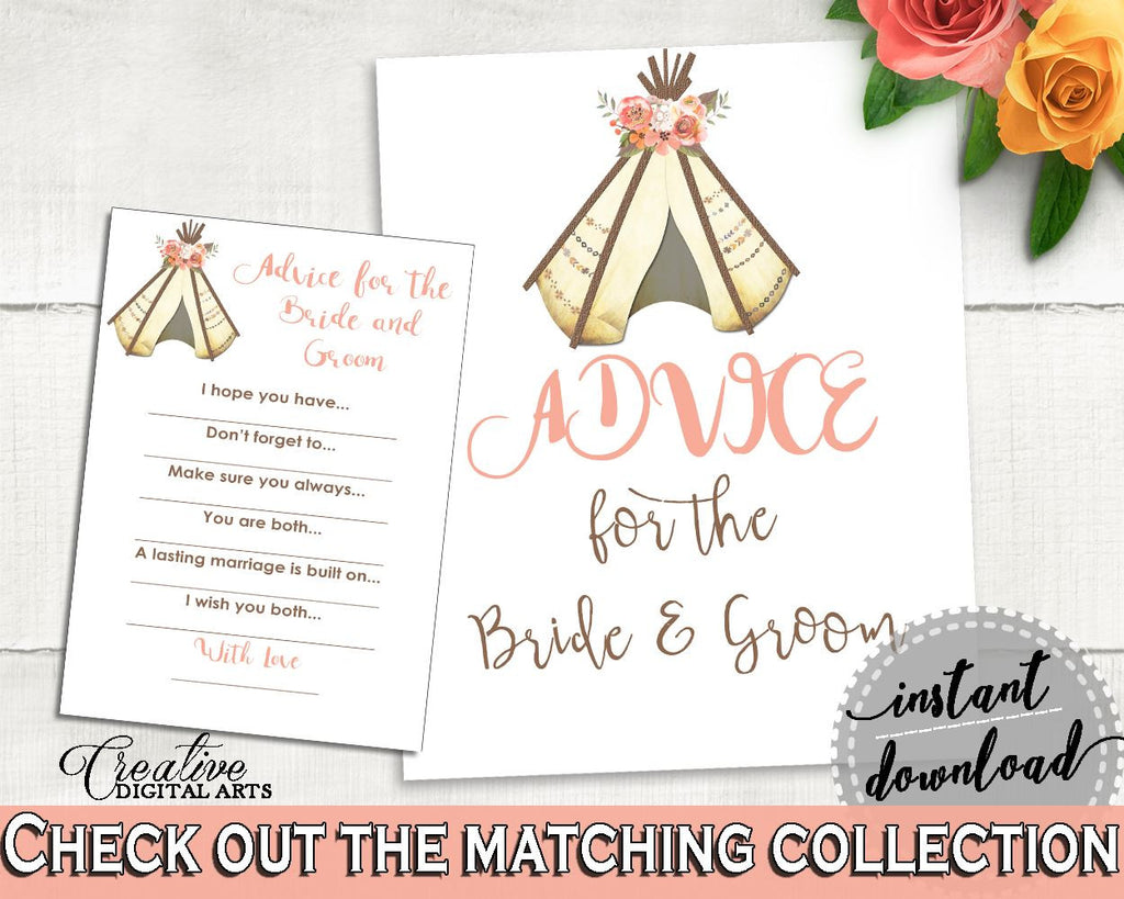 Advice Bridal Shower Advice Tribal Bridal Shower Advice Bridal Shower Tribal Advice Pink Brown party stuff, party decorations 9ENSG - Digital Product