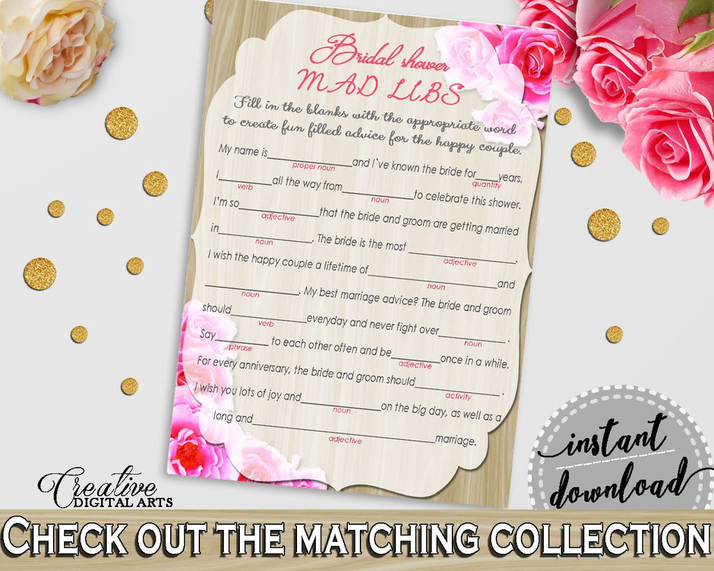 roses on wood bridal shower mad libs game in pink and beige adjective trending