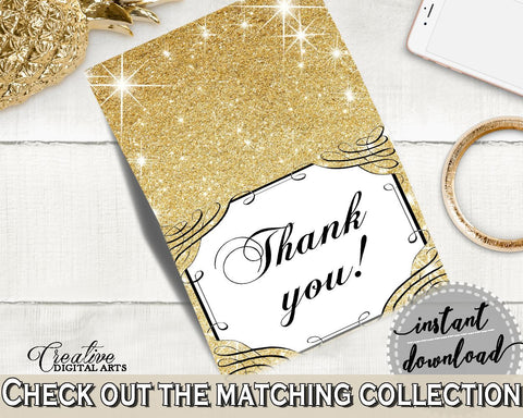 Thank You Card in Glittering Gold Bridal Shower Gold And Yellow Theme, sweet 16, pretty theme, party planning, party stuff, prints - JTD7P - Digital Product