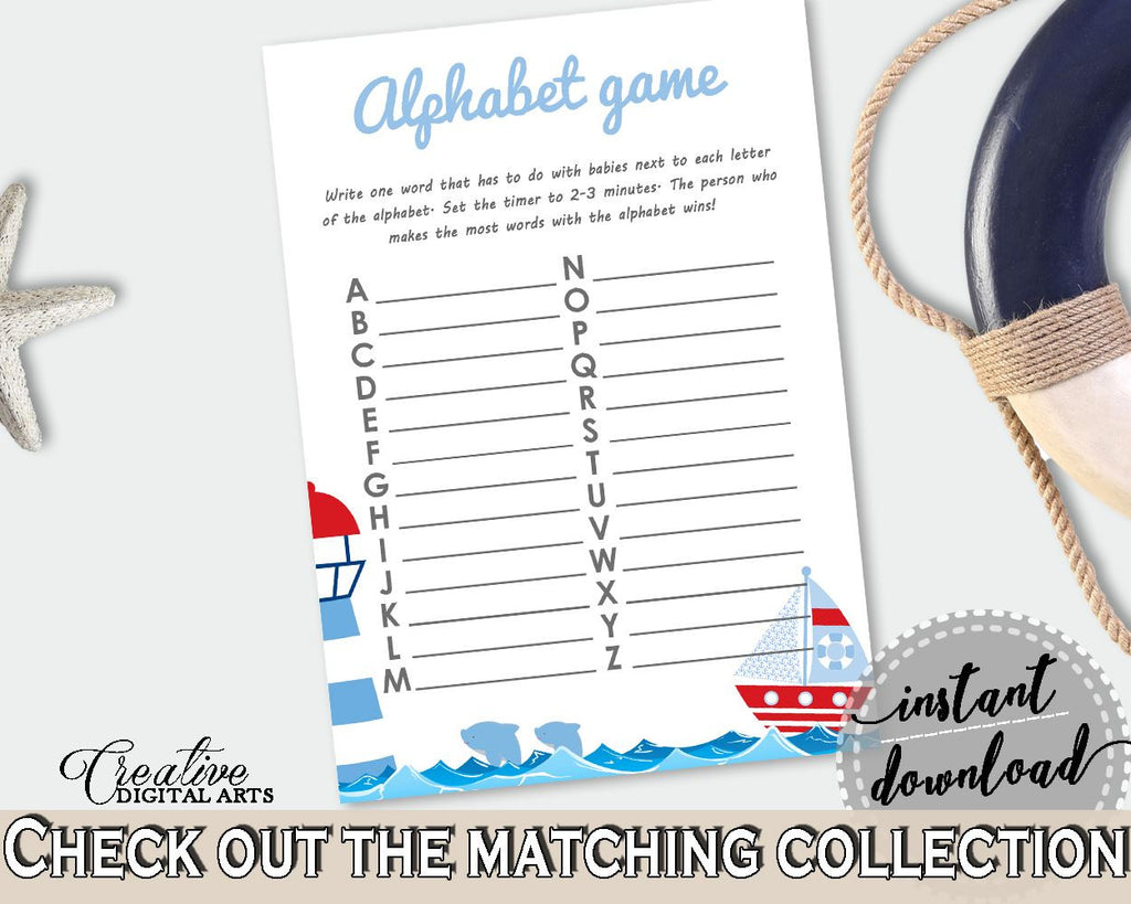 Alphabet Game Baby Shower Alphabet Game Nautical Baby Shower Alphabet Game Baby Shower Nautical Alphabet Game Blue Red party ideas DHTQT - Digital Product
