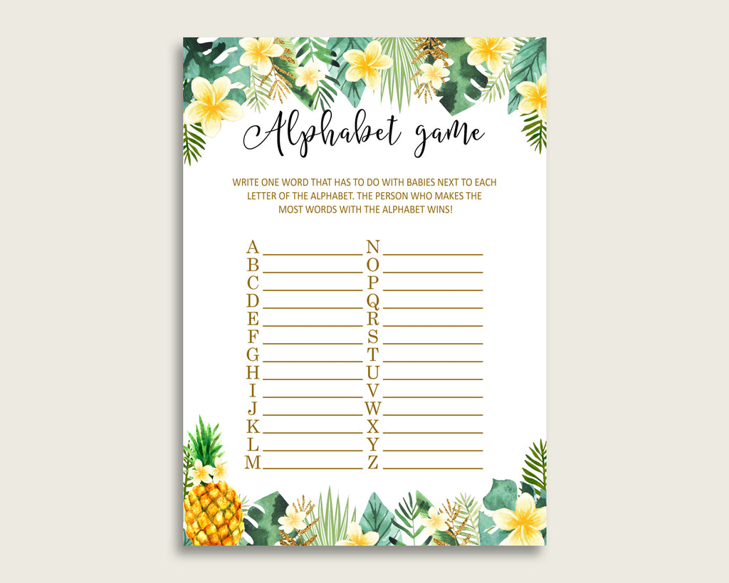 Green Yellow Alphabet Baby Shower Gender Neutral Game, Tropical A-Z Guessing Baby Game Printable, ABC's Baby Item Name Game, Instant 4N0VK
