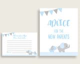 Elephant Advice For Mommy To Be Cards & Sign, Printable Baby Shower Blue Grey Advice For New Parents, Instant Download, Most Popular ebl02