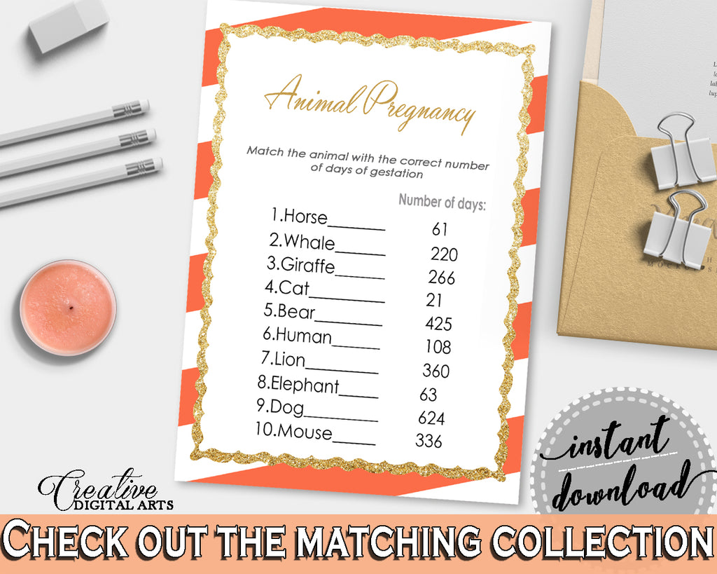 Orange Baby Shower ANIMAL GESTATION game with glitter gold and orange stripes theme printable, digital, Jpg Pdf, instant download - bs003