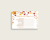 Advice Cards Bridal Shower Advice Cards Fall Bridal Shower Advice Cards Bridal Shower Autumn Advice Cards Brown Yellow party stuff YCZ2S