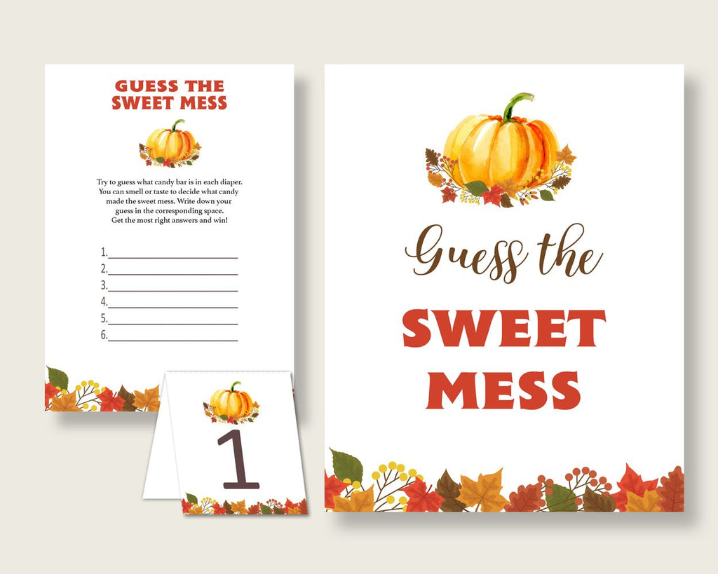 Sweet Mess Baby Shower Sweet Mess Fall Baby Shower Sweet Mess Baby Shower Pumpkin Sweet Mess Orange Brown party theme prints BPK3D - Digital Product