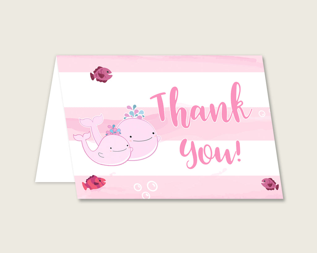 Pink White Thank You Cards Printable, Pink Whale Baby Shower Thank You Notes, Girl Shower Thank You Folded, Instant Download, Popular wbl02