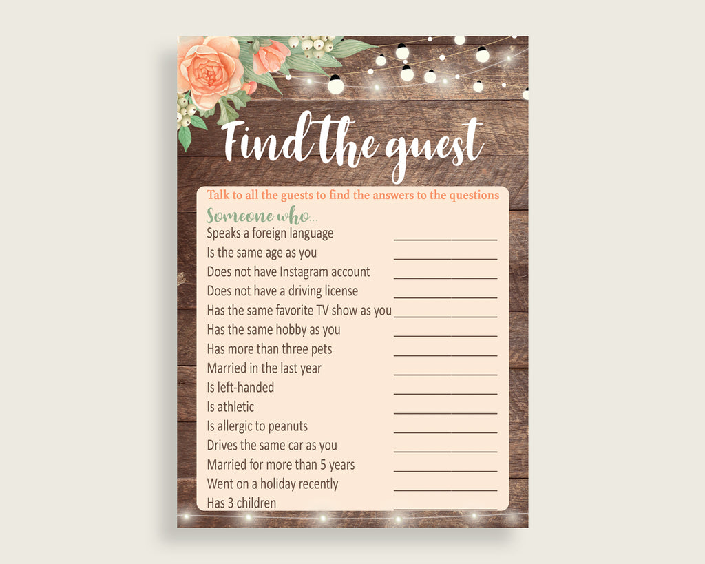 Find The Guest Bridal Shower Find The Guest Rustic Bridal Shower Find The Guest Bridal Shower Flowers Find The Guest Brown Beige SC4GE