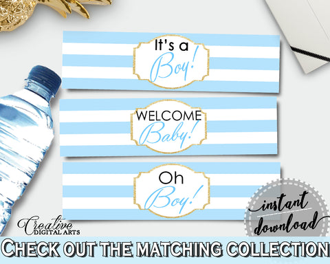 Baby shower printable WATER BOTTLE LABELS with blue and white stripes, digital files Pdf Jpg, instant download - bs002