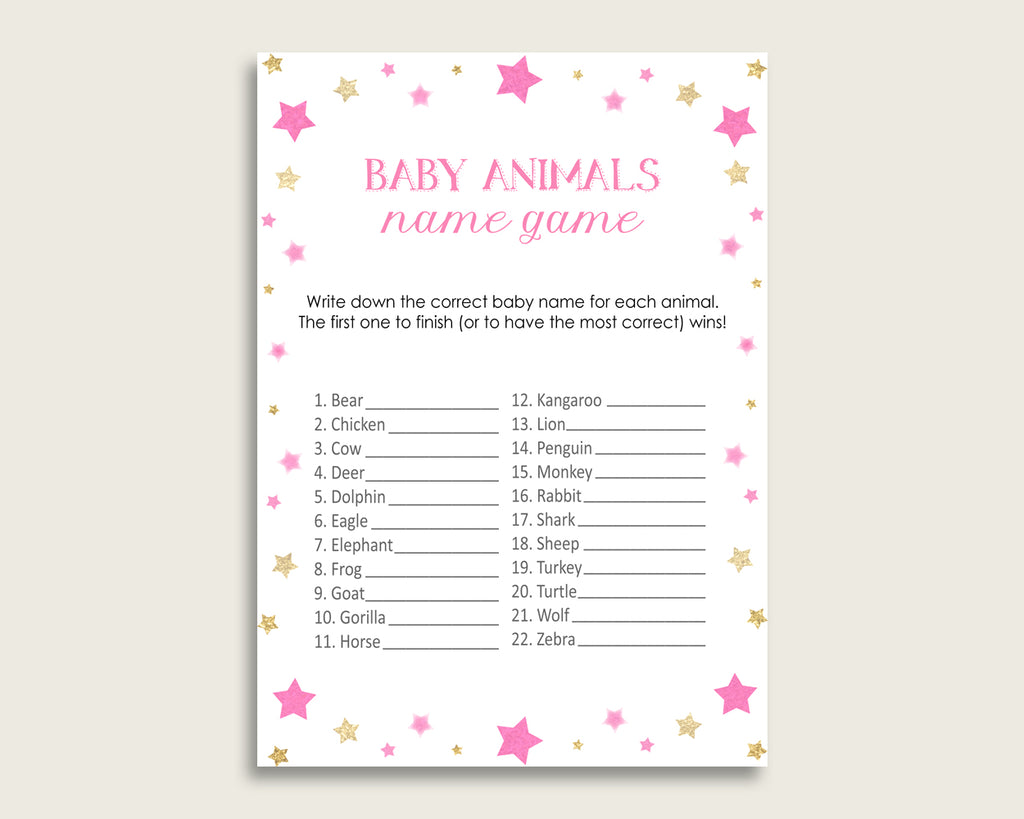 Twinkle Star Name The Baby Animals Game Printable, Pink Gold Baby Shower Animal Game, Girl Baby Shower, Instant Download, Cute Stars, bsg01