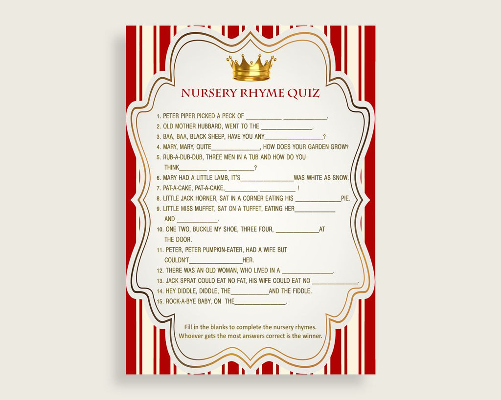 Prince Nursery Rhyme Quiz Printable, Red Gold Nursery Rhyme Game, Red Gold Baby Shower Boy Activities, Instant Download, Most Popular 92EDX