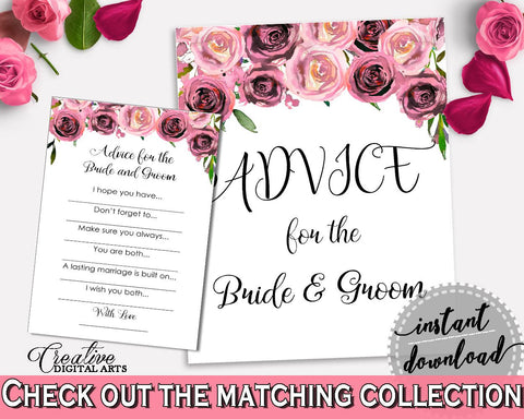 Advice Bridal Shower Advice Floral Bridal Shower Advice Bridal Shower Floral Advice Pink Purple party decorations, party decor BQ24C - Digital Product