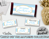 Baby shower CANDY BAR printable decoration wrappers and labels with blue stripes, glitter gold text, instant download - bs002
