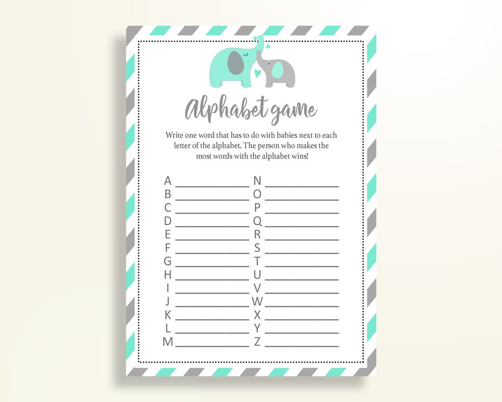 Alphabet Game Baby Shower Abc Game Turquoise Baby Shower Alphabet Game Baby Shower Elephant Abc Game Green Gray party organising 5DMNH - Digital Product