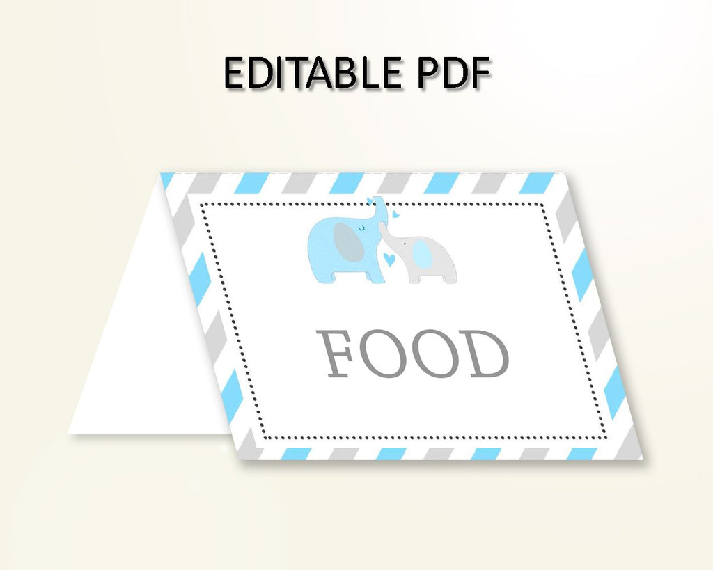 Food Tents Baby Shower Food Tents Elephant Baby Shower Food Tents Blue Gray Baby Shower Elephant Food Tents paper supplies pdf jpg C0U64 - Digital Product