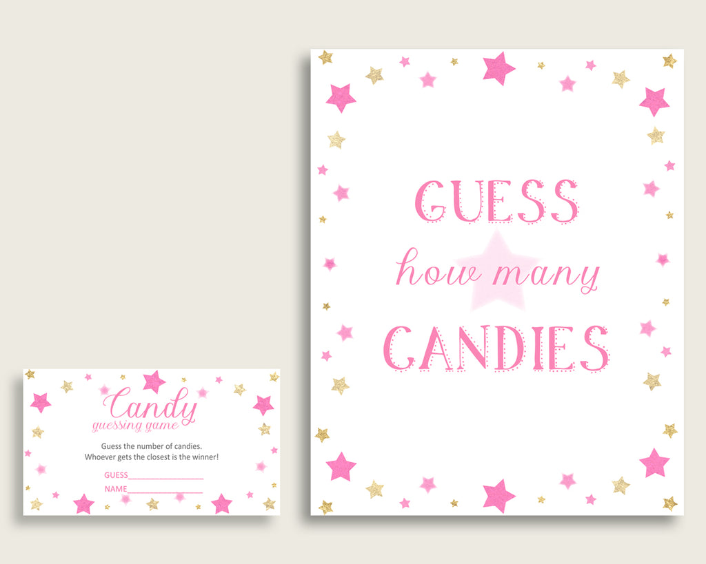 Pink Gold Candy Guessing Game, Twinkle Star Baby Shower Girl Sign And Cards, Guess How Many Candies, Candy Jar Game, Jelly Beans bsg01
