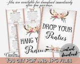 Antlers Flowers Bohemian Bridal Shower Drop Your Panties in Gray and Pink, panty game, gray bridal theme, instant download, pdf jpg - MVR4R - Digital Product